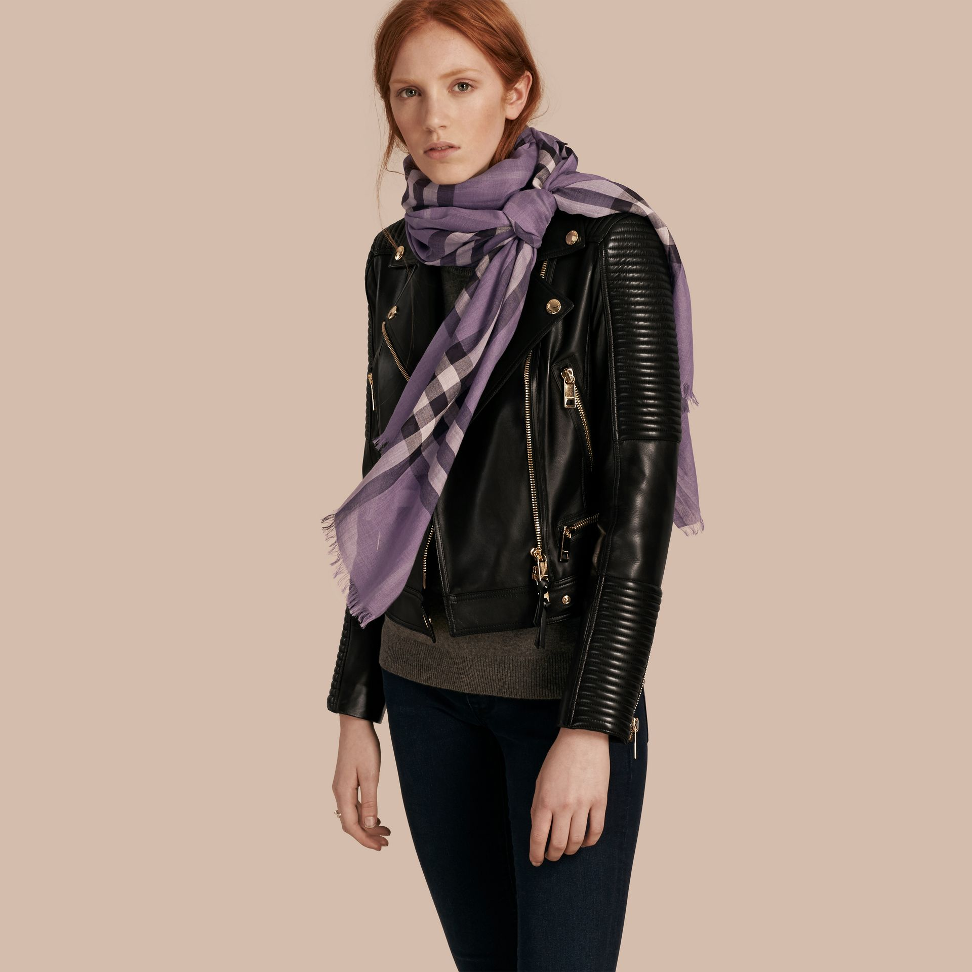 Lilac Lightweight Check Wool and Silk Scarf Lilac - gallery image 4