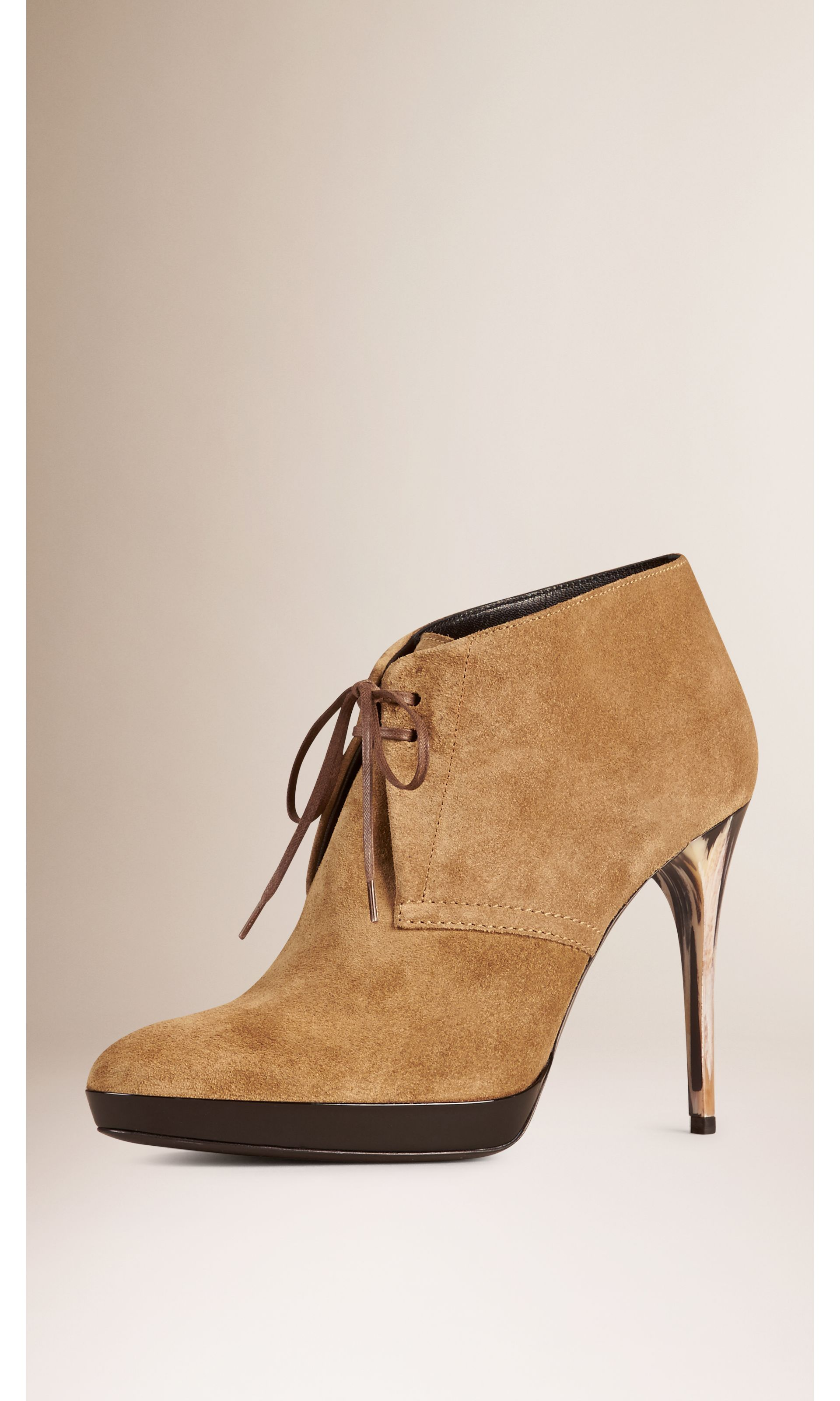 Lace-up Suede Ankle Boots in Sandstone - Women   Burberry United States - gallery image 0