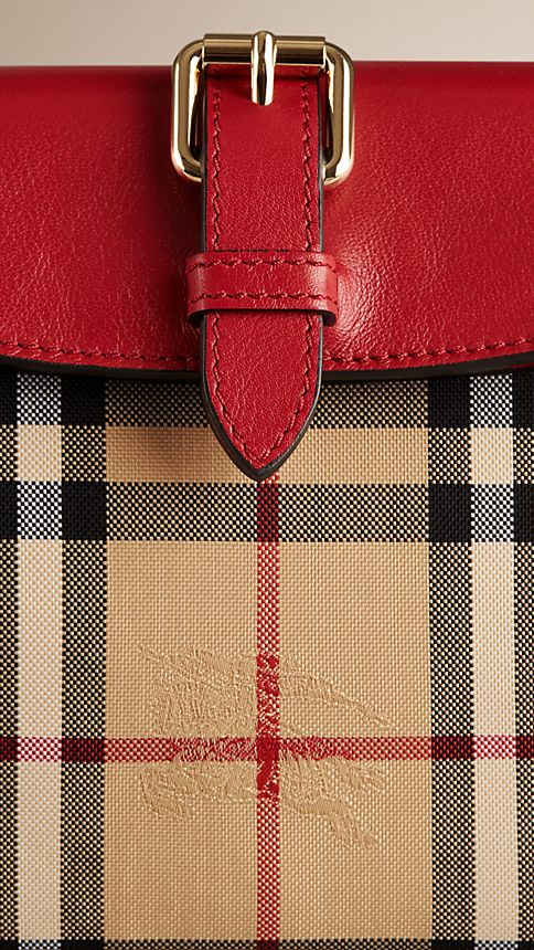 Honey/parade red Small Horseferry Check Clutch Bag - Image 6