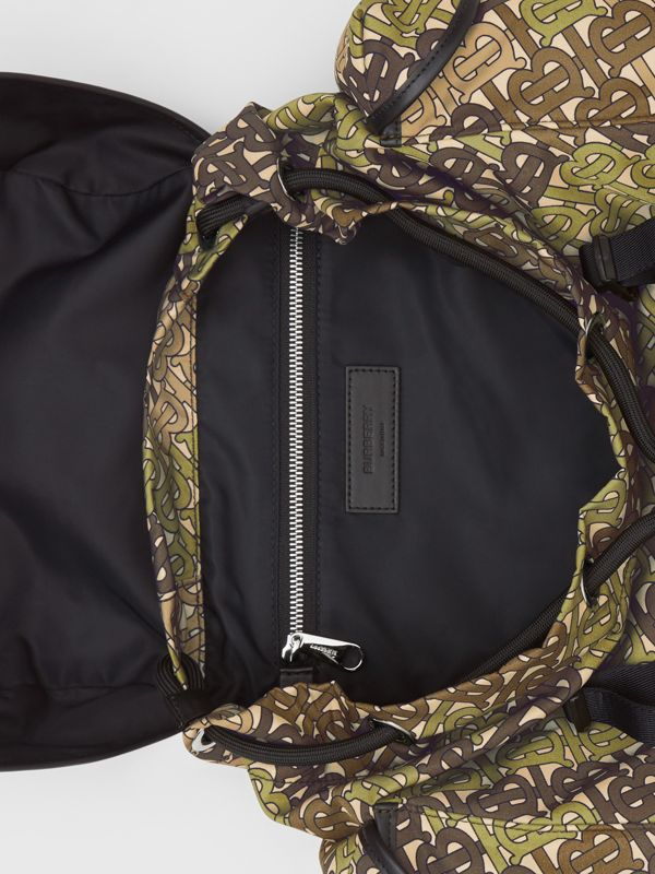 Medium Monogram Print Nylon Backpack in Khaki Green - Men | Burberry - cell image 3