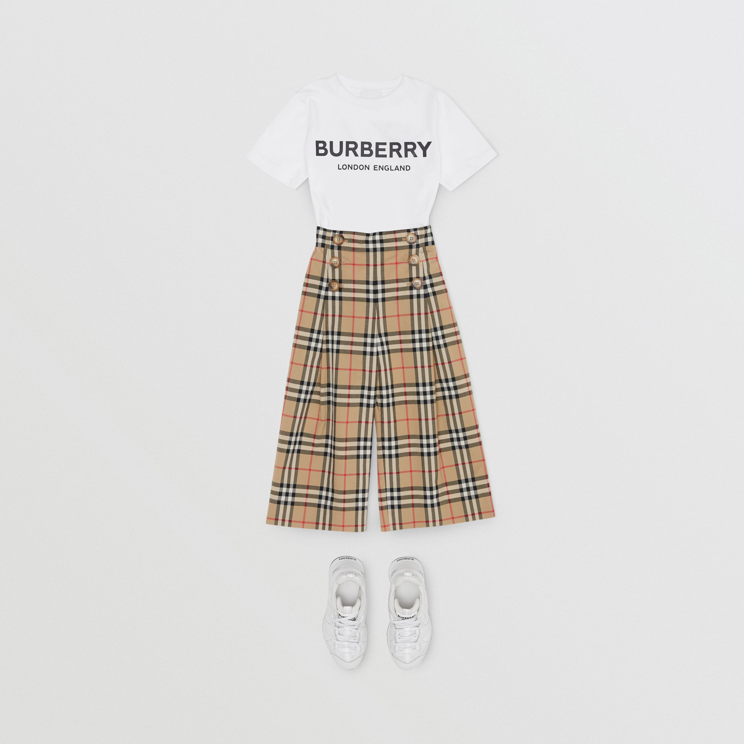 Vintage Check Cotton Sailor Trousers in Archive Beige | Burberry - 4