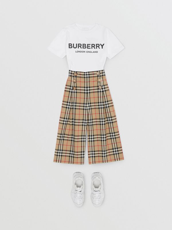 Vintage Check Cotton Sailor Trousers in Archive Beige | Burberry - cell image 3