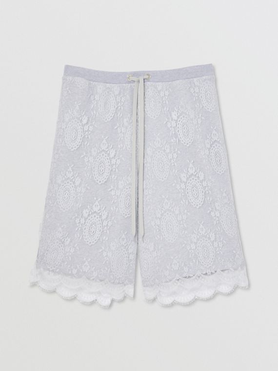 Chantilly Lace and Cotton Drawcord Shorts in Light Pebble Grey