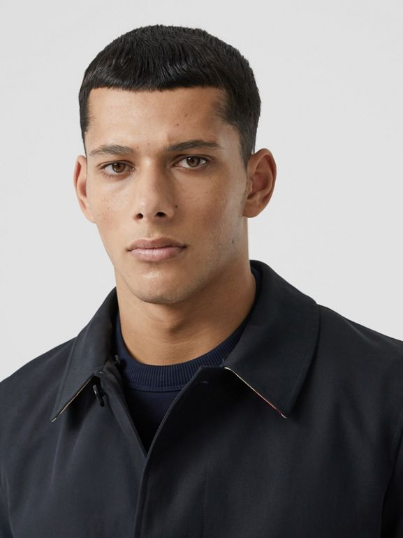 Detachable Striped Collar Cotton Car Coat in Navy - Men | Burberry - cell image 1