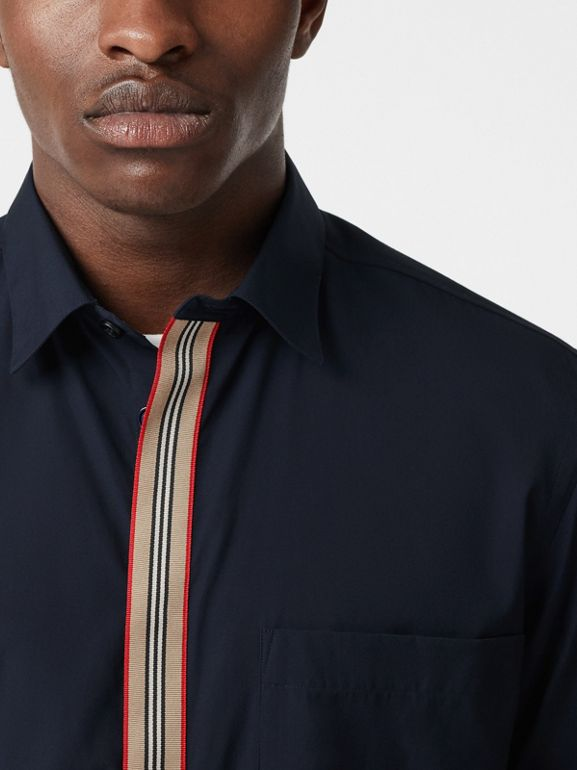 Icon Stripe Detail Stretch Cotton Poplin Shirt in Navy - Men | Burberry Canada - cell image 1