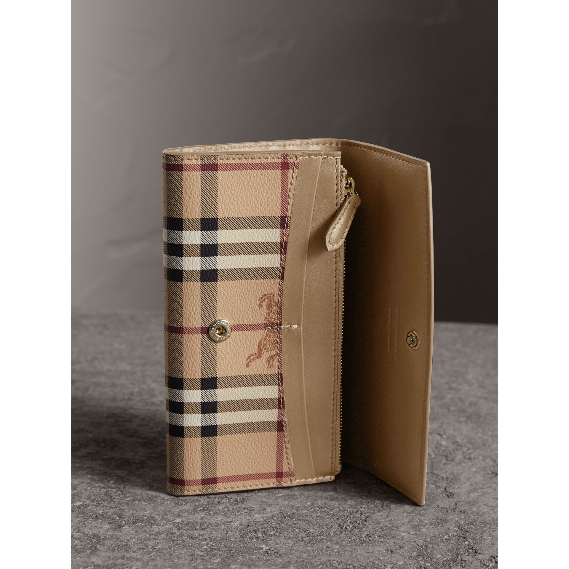 Haymarket Check and Leather Slim Continental Wallet in Mid Camel - Women | Burberry United Kingdom - gallery image 3