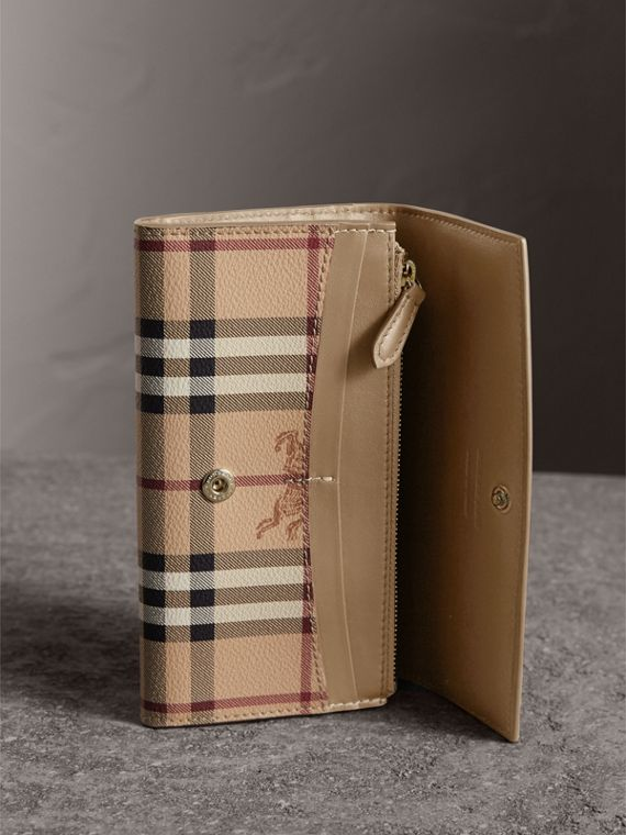 Haymarket Check and Leather Slim Continental Wallet in Mid Camel - Women | Burberry Australia - cell image 3