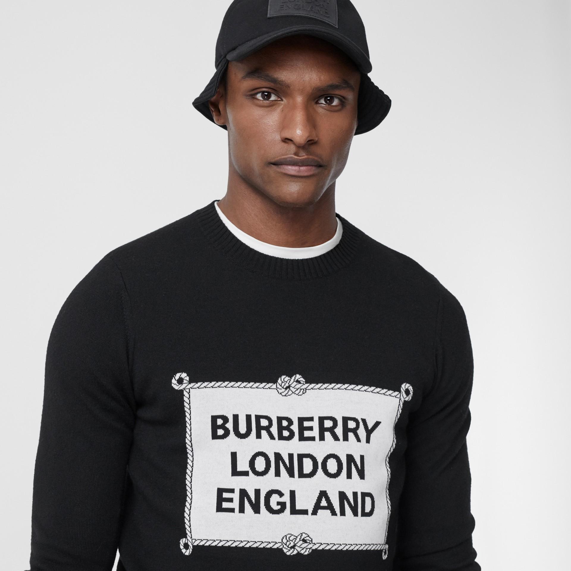 Rigging Intarsia Merino Wool Sweater in Black - Men | Burberry - gallery image 1