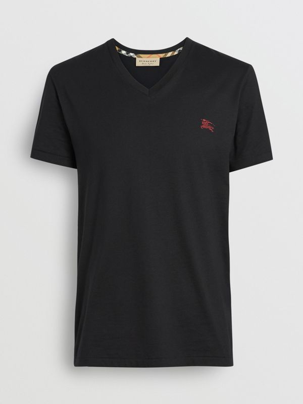 Cotton Jersey V-neck T-shirt in Black - Men | Burberry - cell image 3
