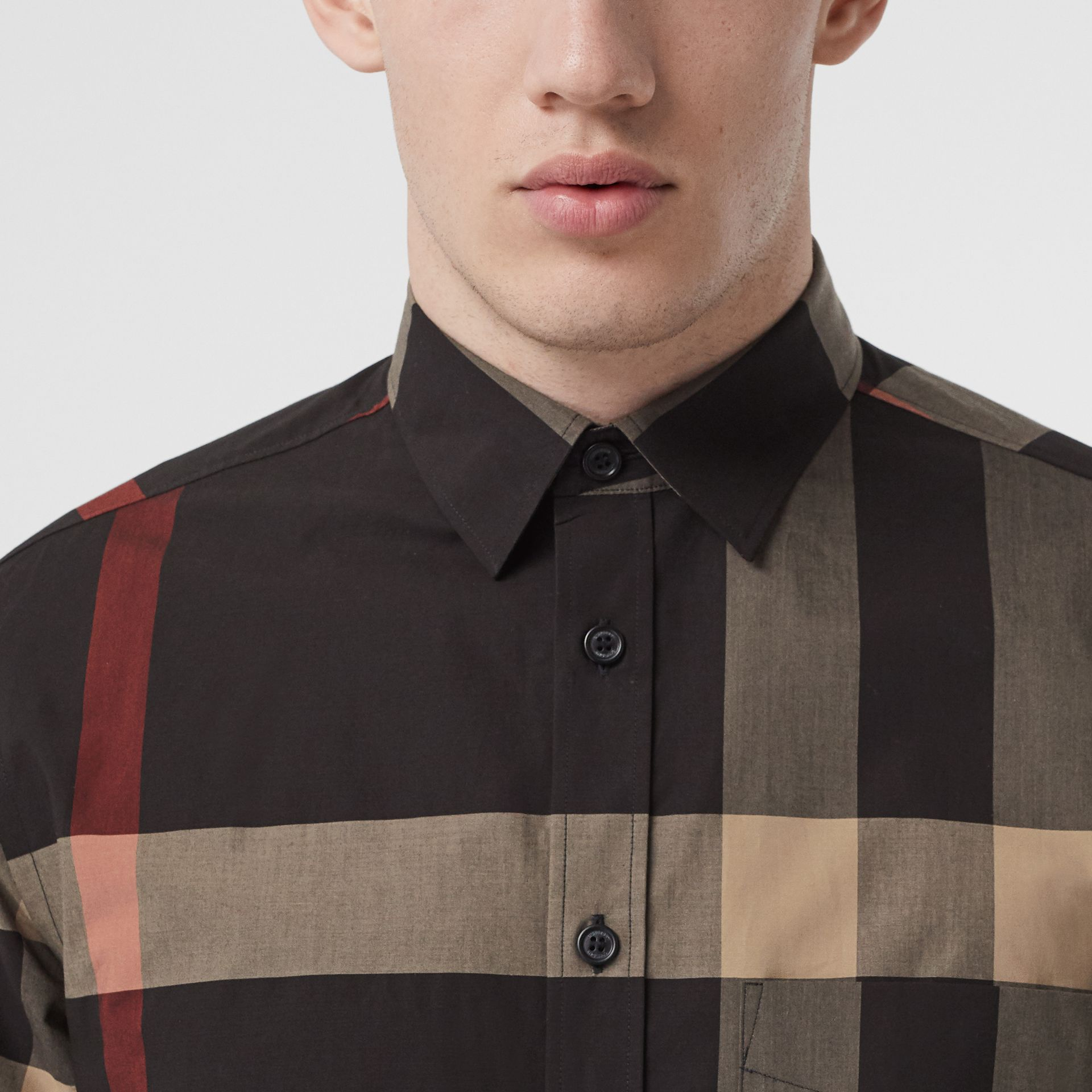 Check Stretch Cotton Poplin Shirt in Black - Men | Burberry - gallery image 1