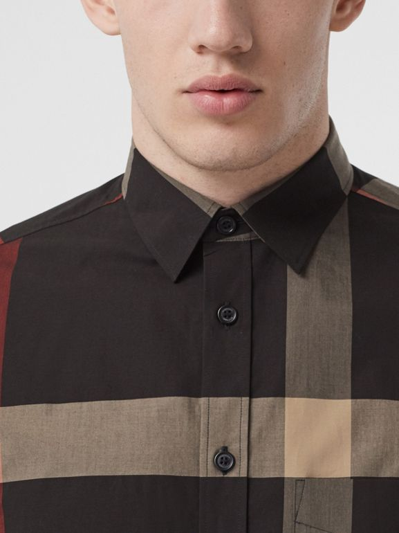 Check Stretch Cotton Poplin Shirt in Black - Men | Burberry United States - cell image 1