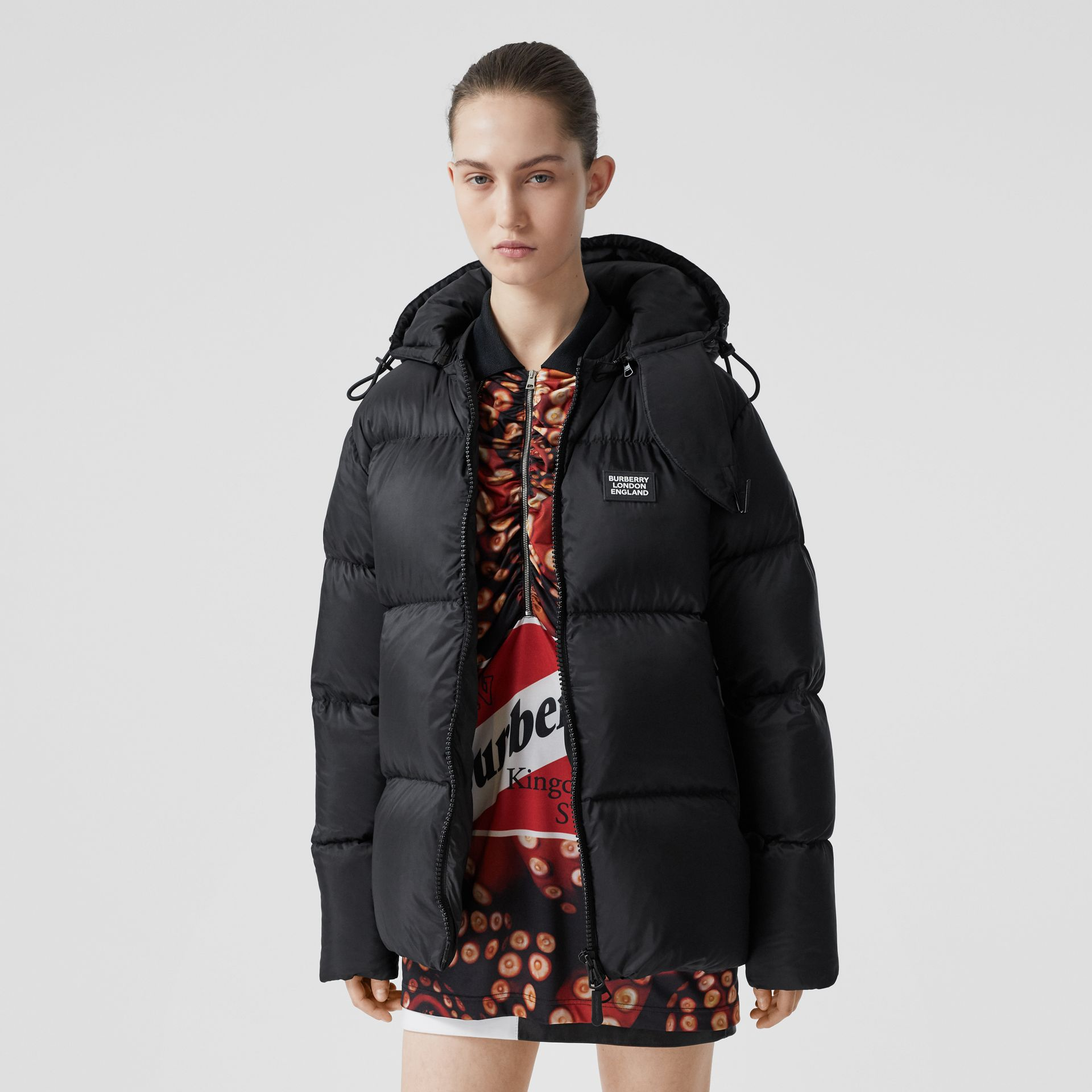 Monogram Stripe Print Puffer Jacket in Black | Burberry - gallery image 8