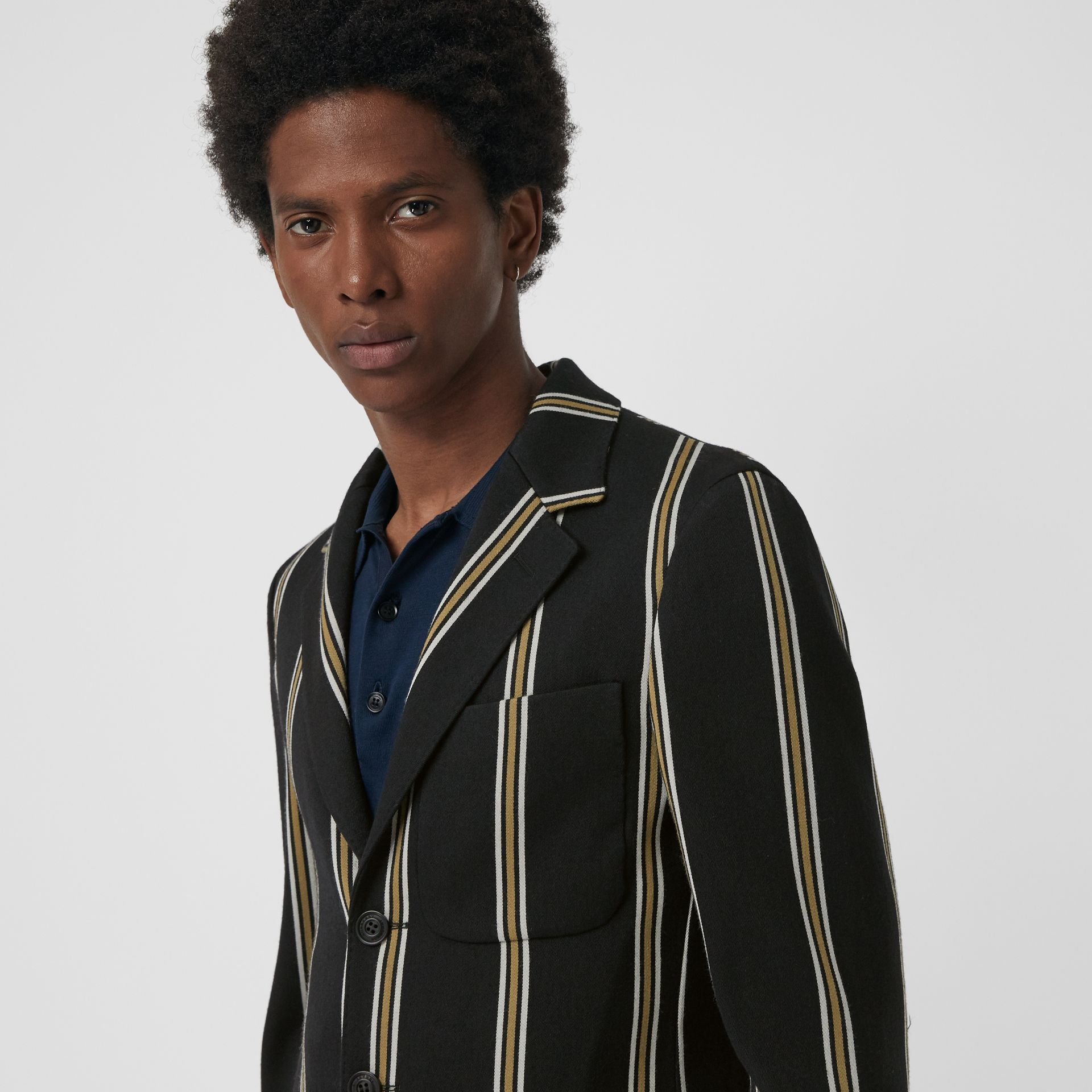 Striped Wool Blend Club Blazer in Black - Men | Burberry - gallery image 1