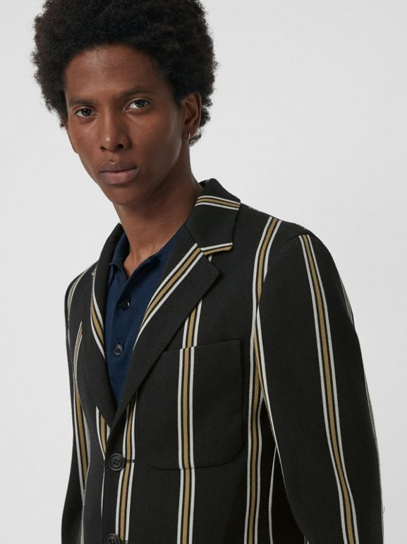 Striped Wool Blend Club Blazer in Black - Men | Burberry Hong Kong - cell image 1