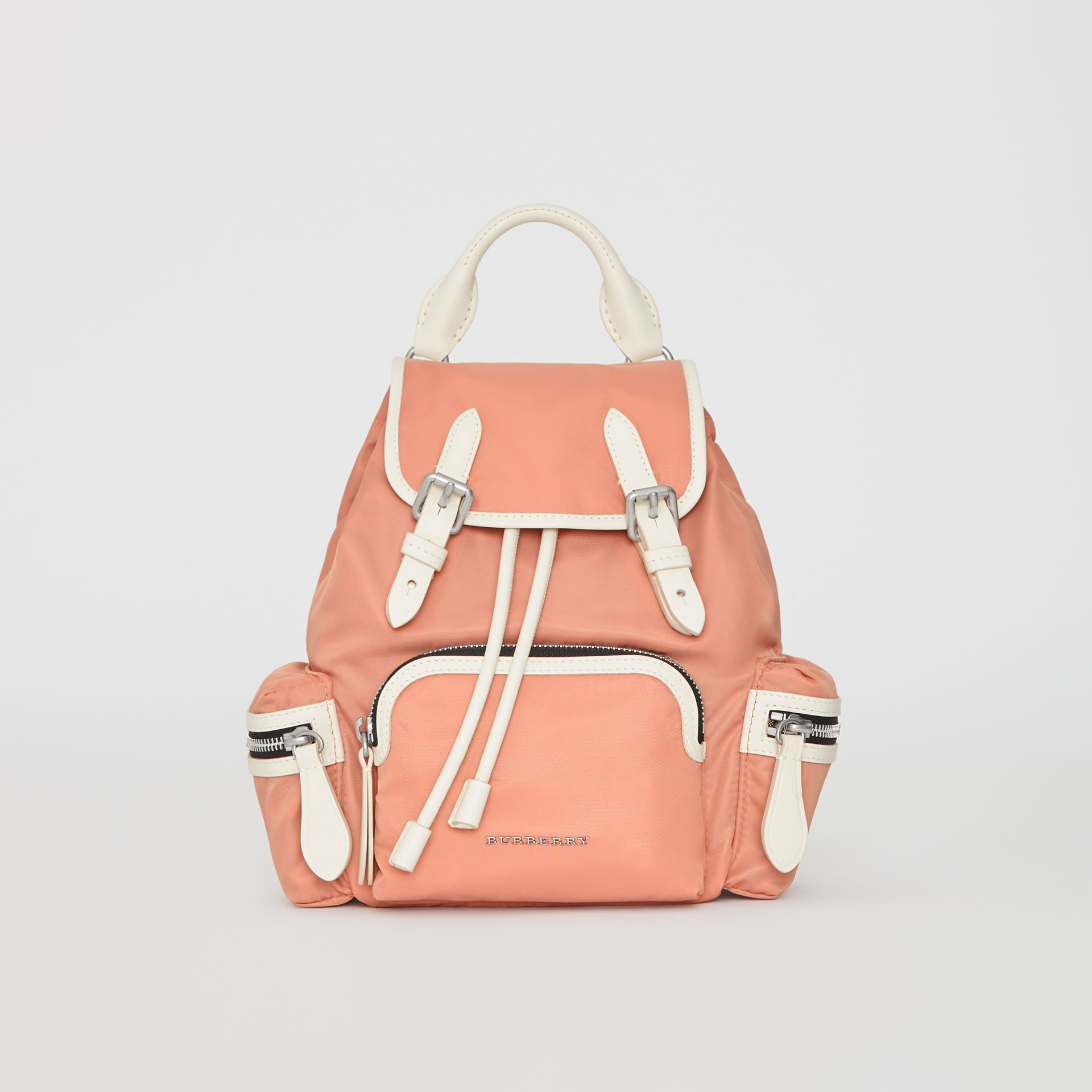 The Small Crossbody Rucksack in Nylon in Powder Pink - Women | Burberry United Kingdom - gallery image 0