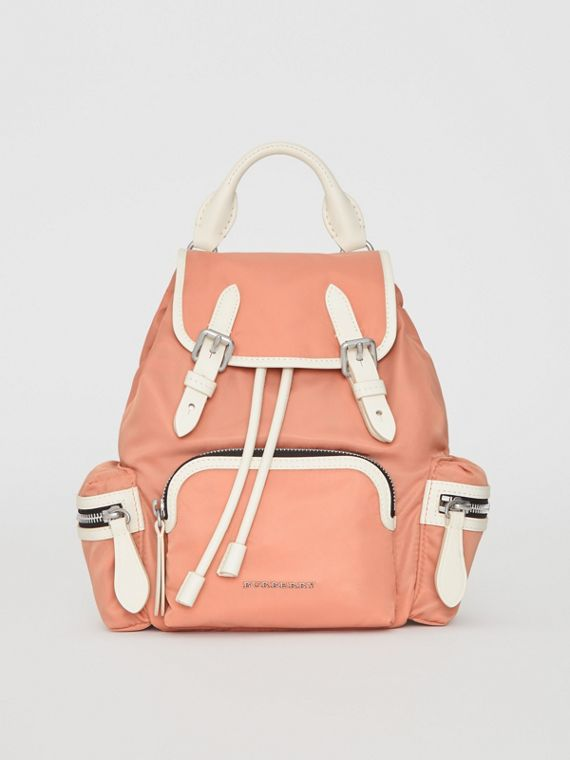 The Small Crossbody Rucksack in Nylon in Powder Pink