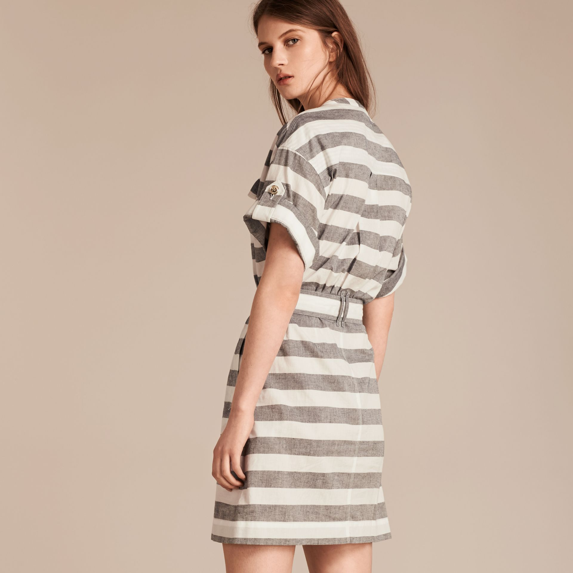 White Striped Belted Cotton Dress - gallery image 3