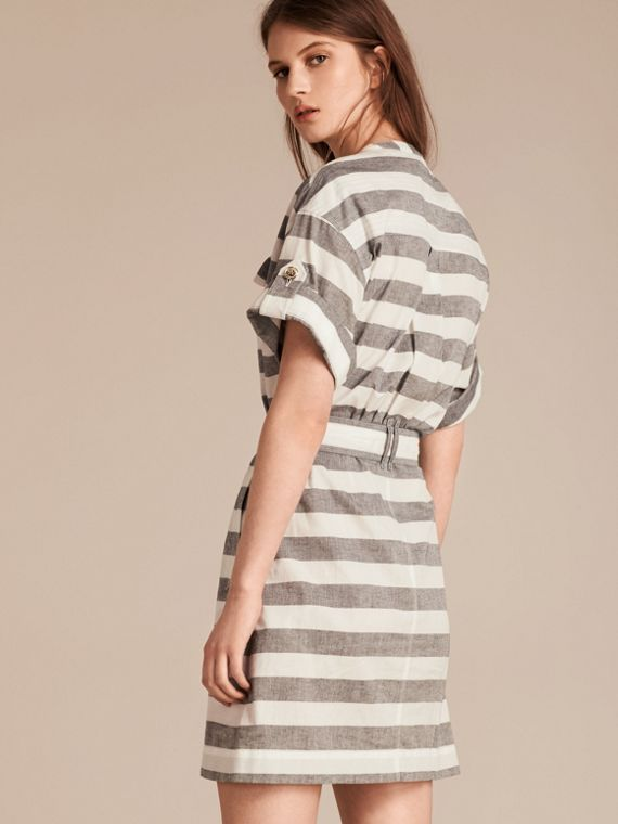 White Striped Belted Cotton Dress - cell image 2