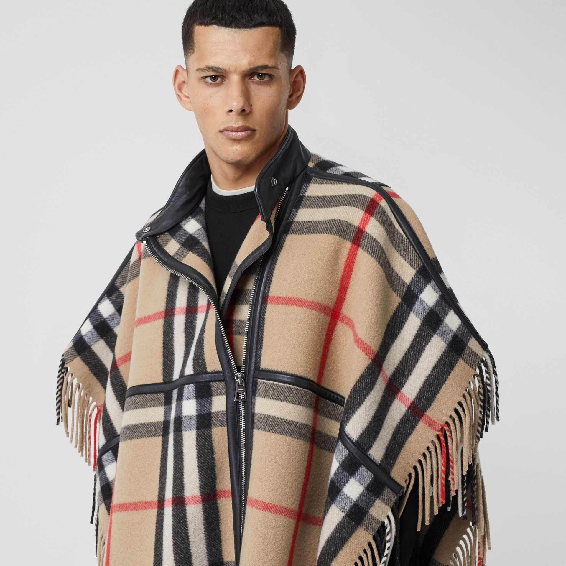 Check Wool Blend Zip-front Cape in Archive Beige | Burberry - gallery image 5