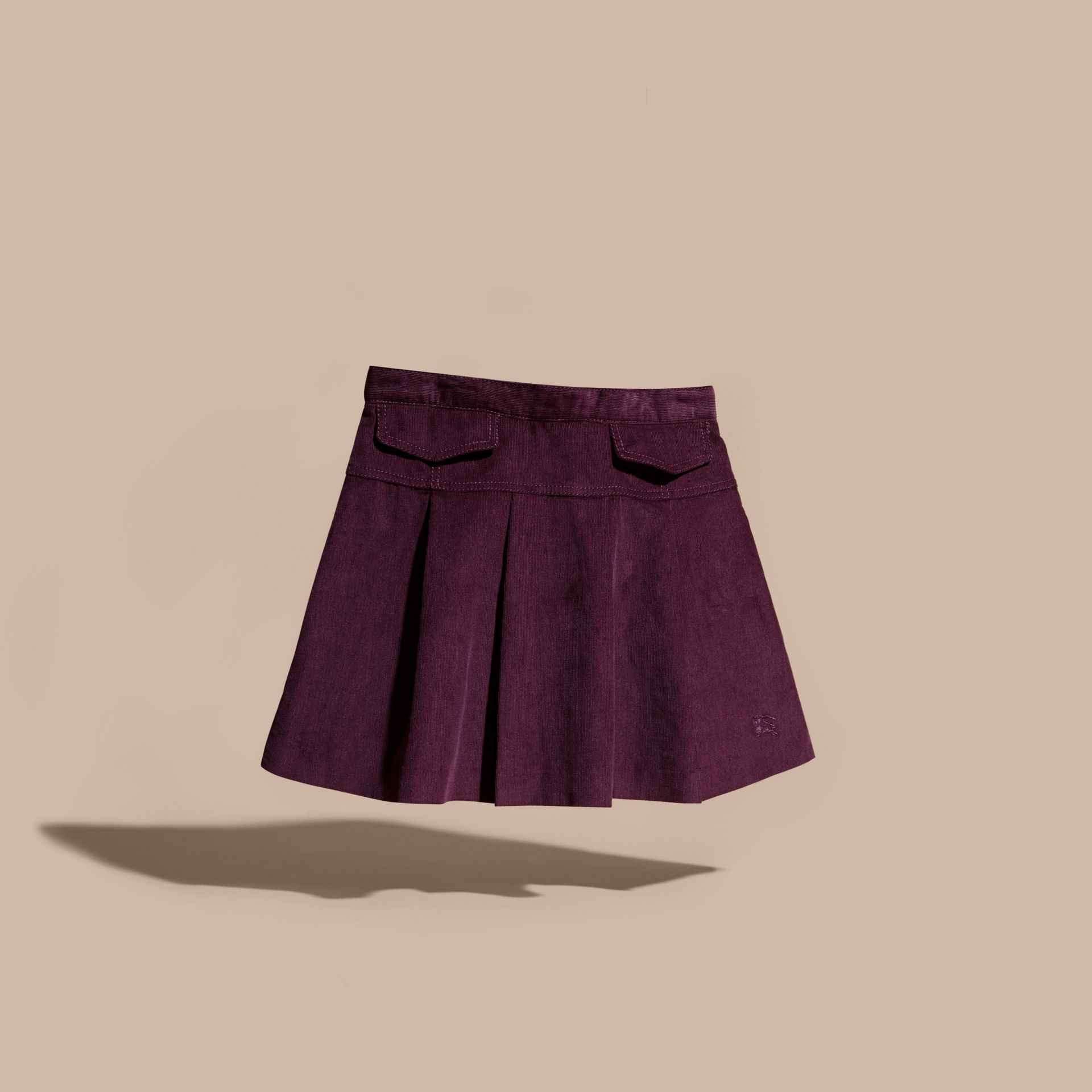 Blackcurrant Pleated Cotton Corduroy Skirt - gallery image 3