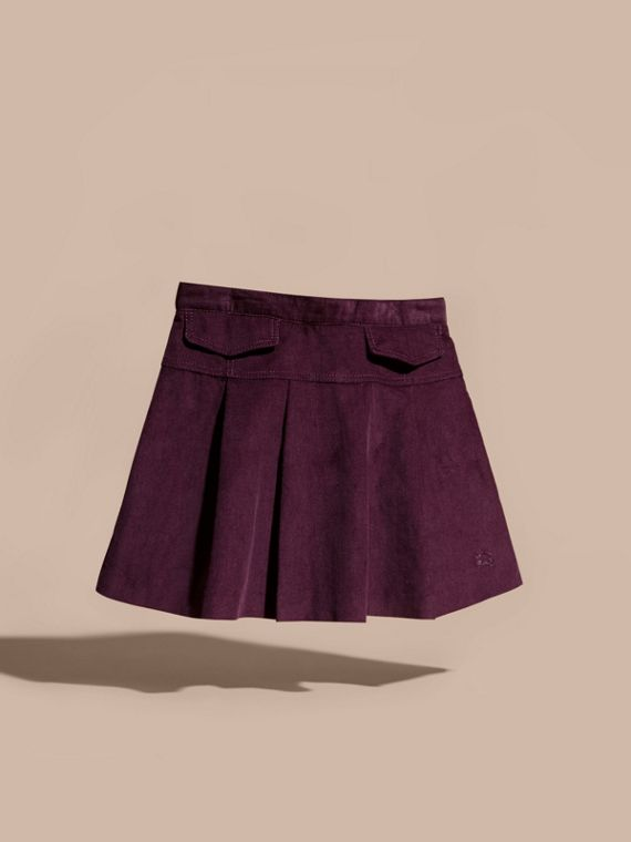 Blackcurrant Pleated Cotton Corduroy Skirt - cell image 2
