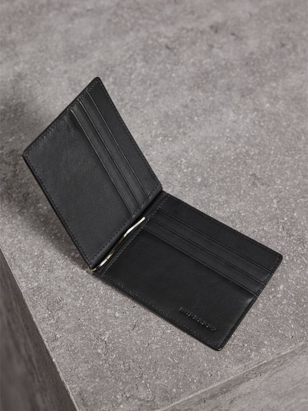 London Check Money Clip Wallet in Charcoal/black - Men | Burberry - cell image 3