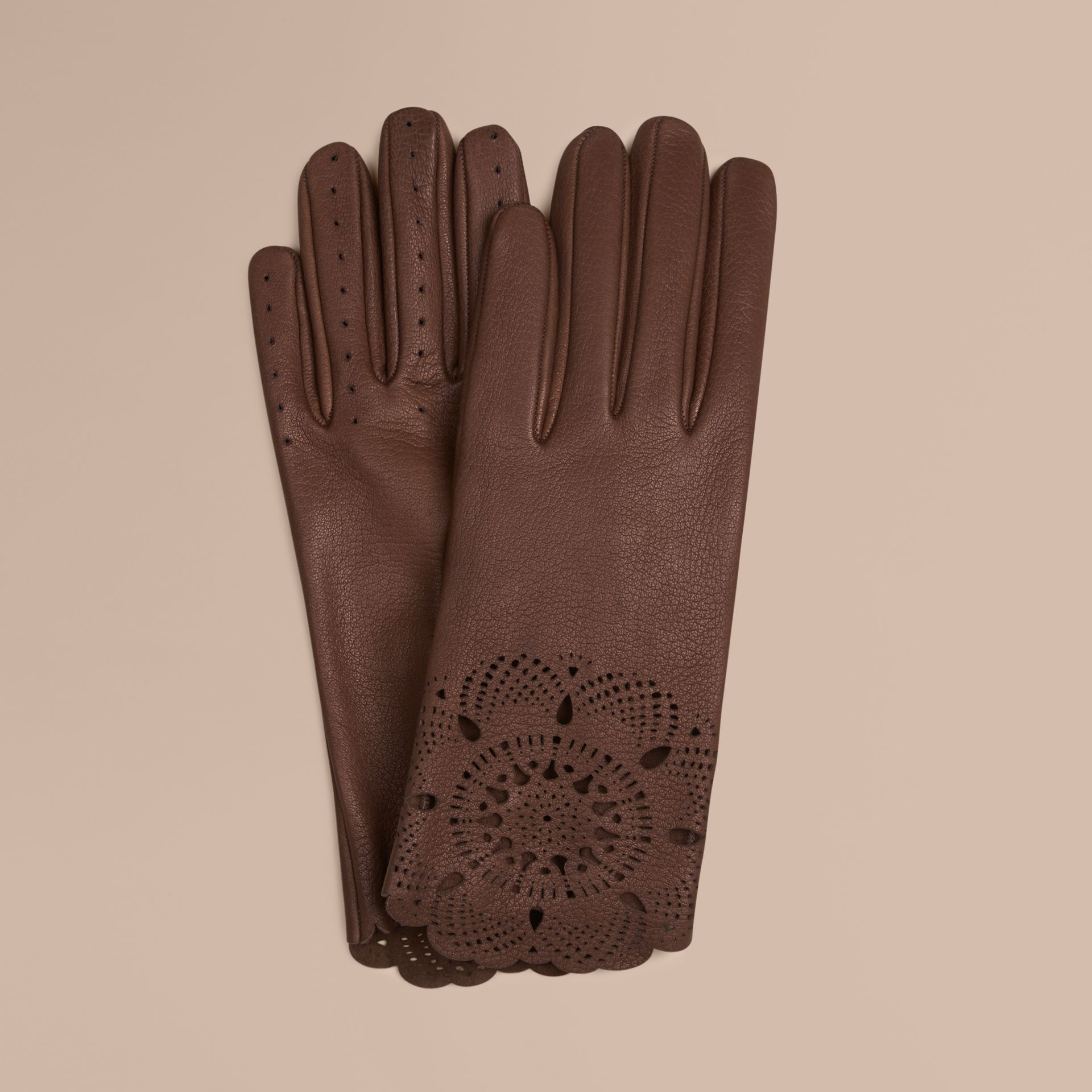 Chocolate Laser-Cut Lace Leather Gloves - gallery image 1