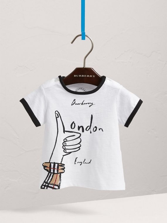London Icons Print Cotton T-shirt in White | Burberry - cell image 2