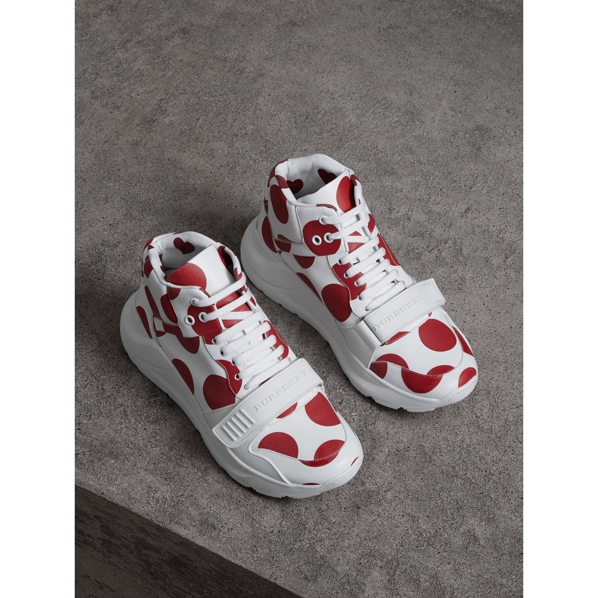 Spot Print Leather High-top Sneakers in Windsor Red/optic White - Women | Burberry - gallery image 4