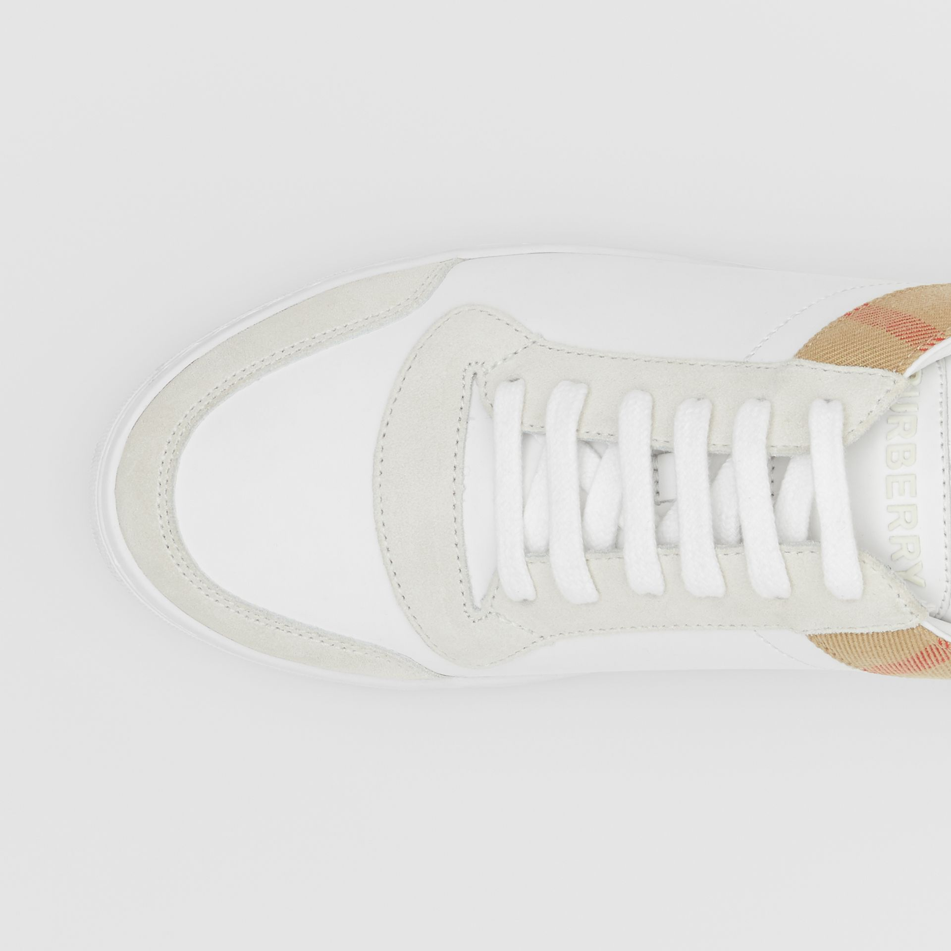 Leather, Suede and House Check Sneakers in Optic White - Men | Burberry United Kingdom - gallery image 1