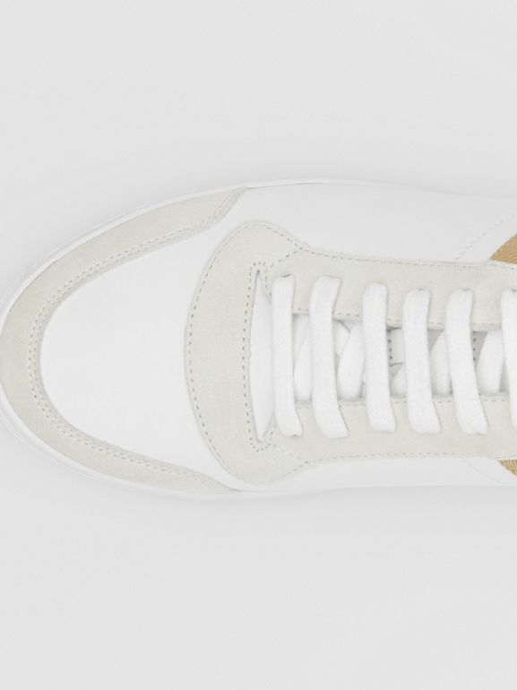 Leather, Suede and House Check Sneakers in Optic White - Men | Burberry United Kingdom - cell image 1
