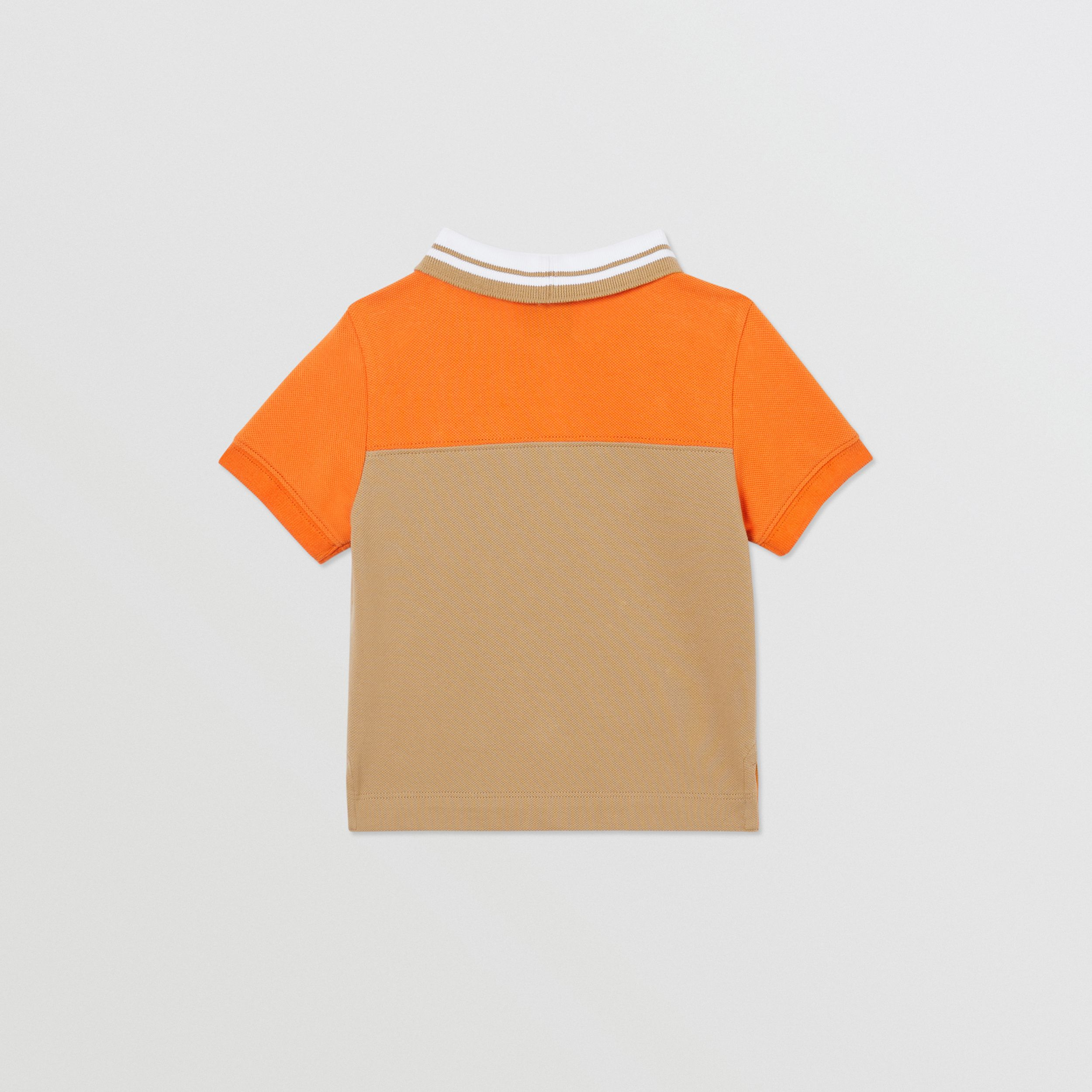 Colour Block Cotton Piqué Polo Shirt in Bright Mandarin - Children | Burberry - 4