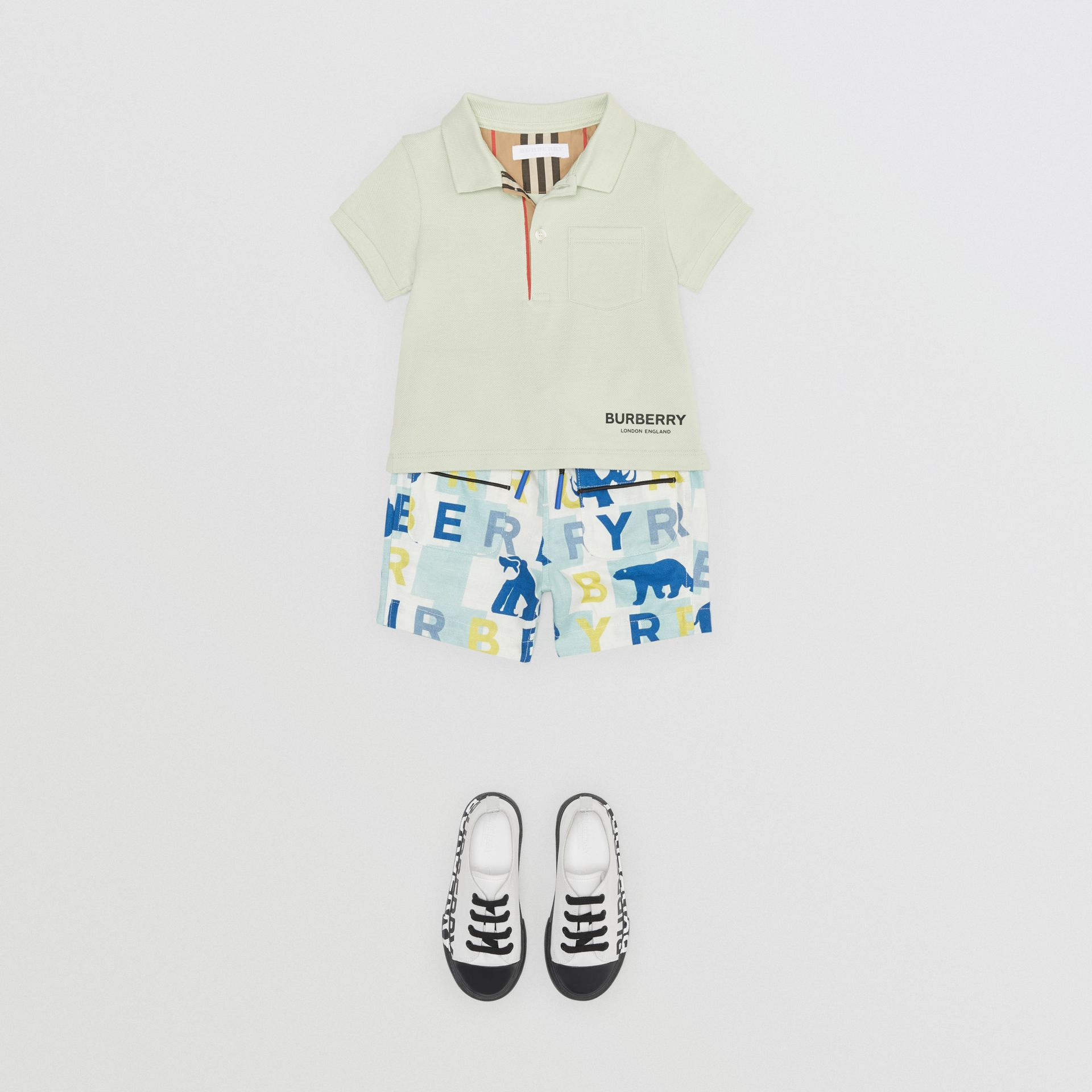 Icon Stripe Placket Cotton Piqué Polo Shirt in Pale Mint - Children | Burberry Singapore - gallery image 2