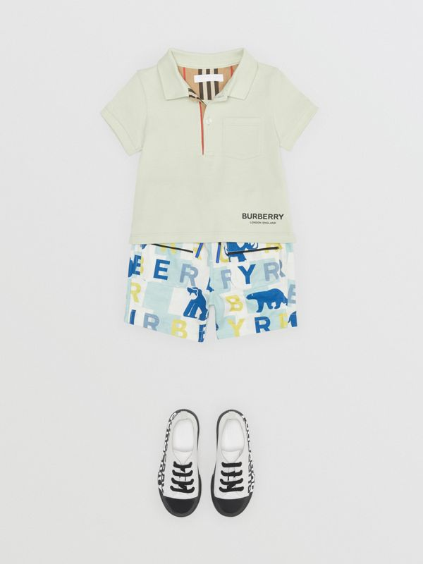 Icon Stripe Placket Cotton Piqué Polo Shirt in Pale Mint - Children | Burberry Singapore - cell image 2