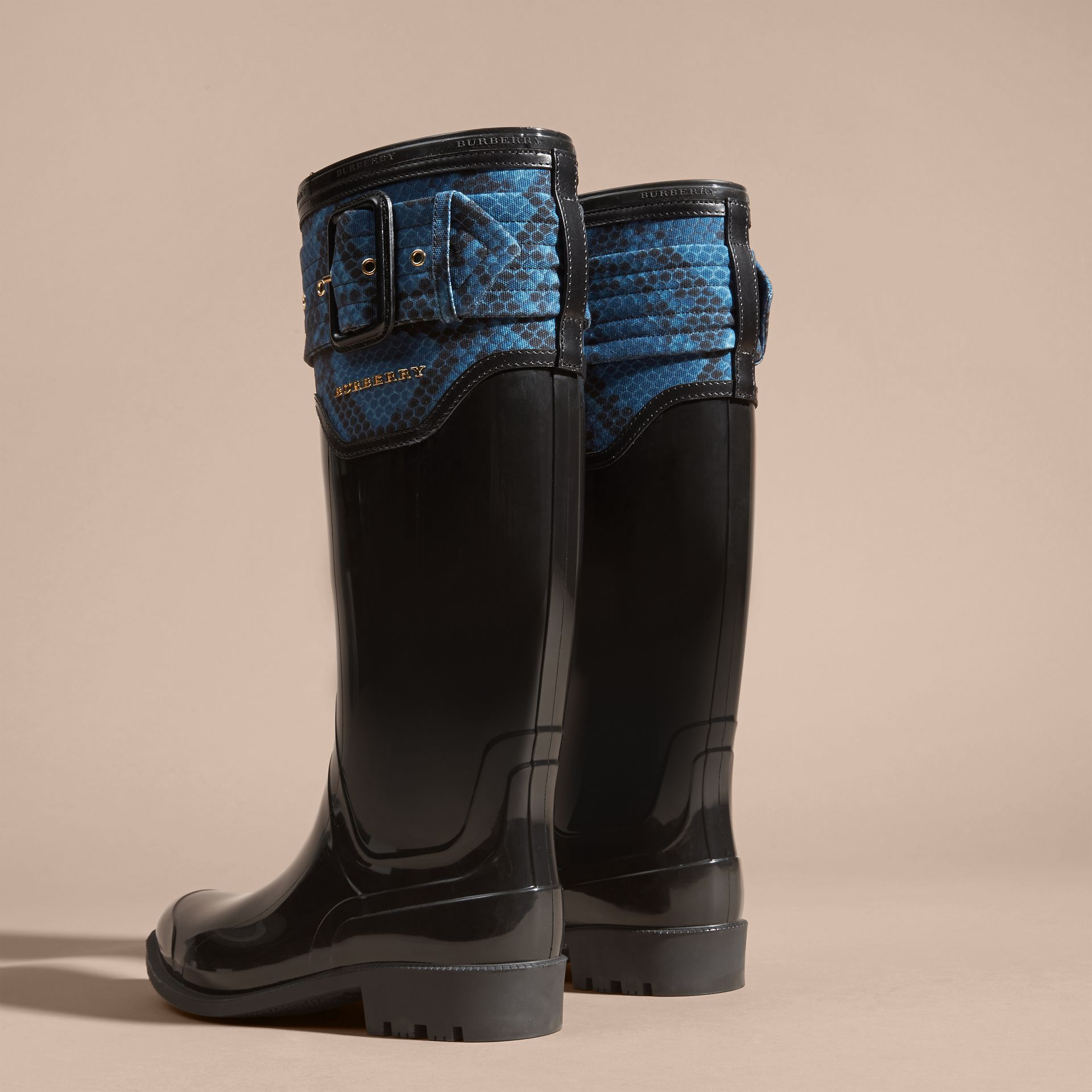 Black/mineral blue Python Print Detail Rain Boots - gallery image 4