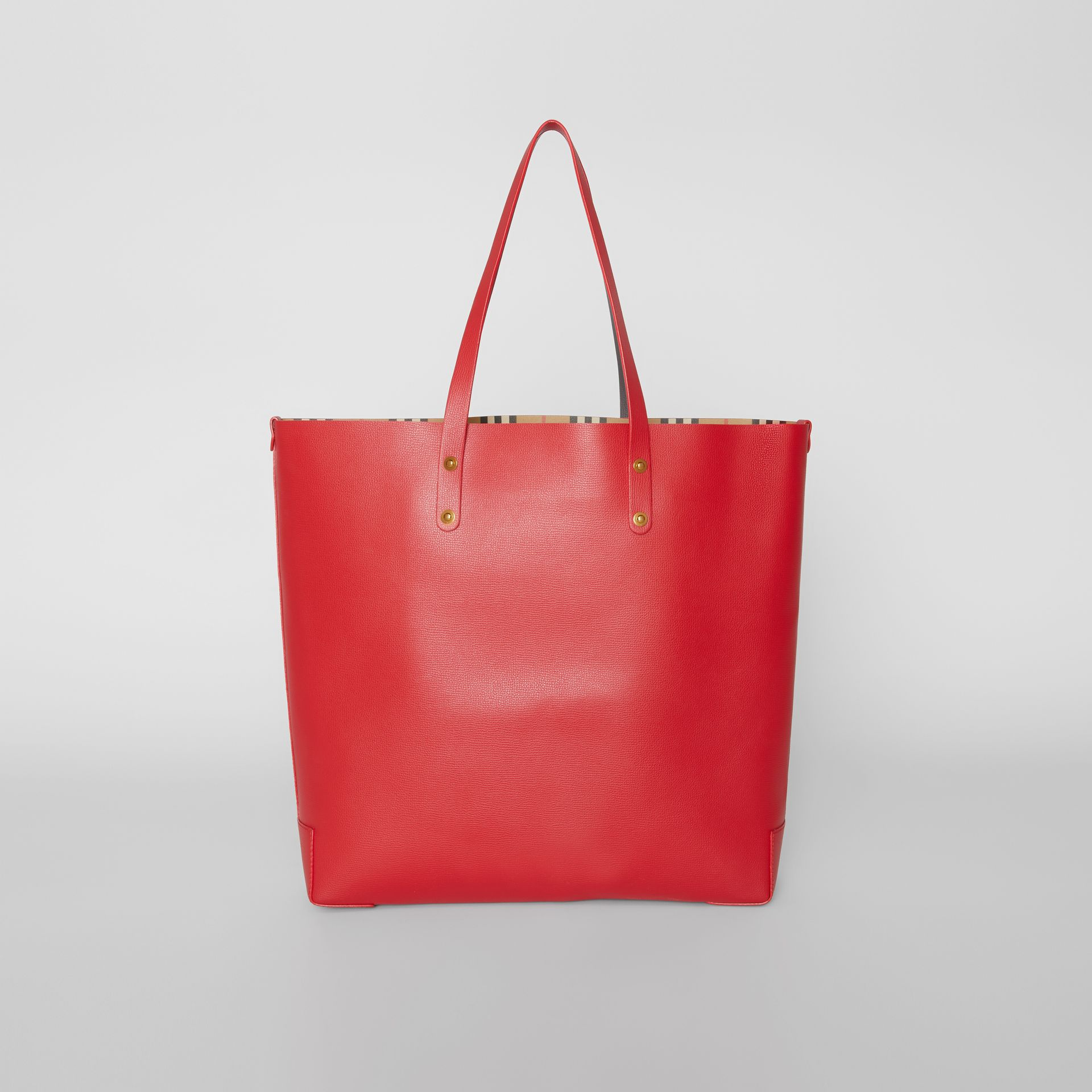 Large Embossed Crest Leather Tote in Rust Red - Women | Burberry - gallery image 7