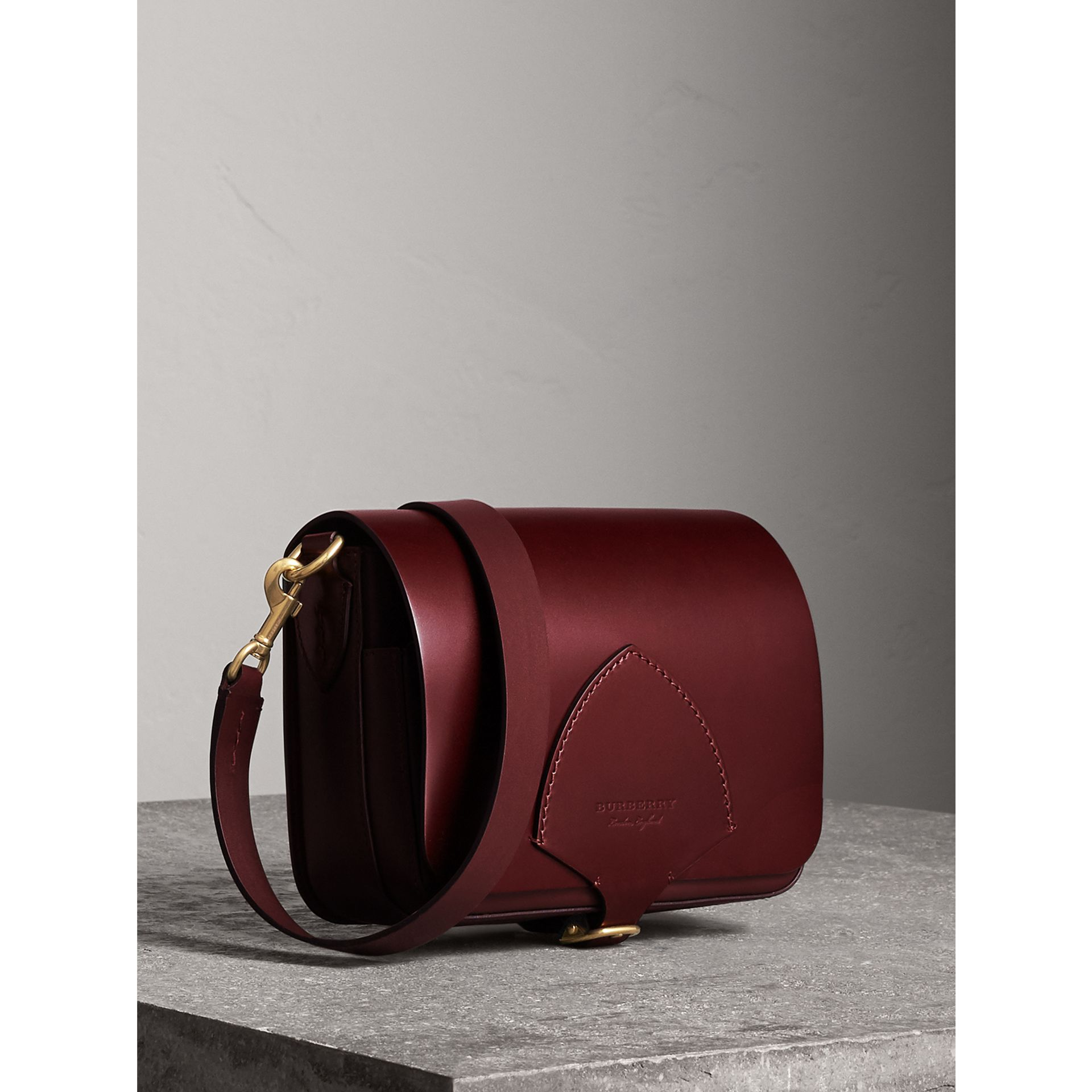 The Square Satchel in Bridle Leather in Deep Claret - Women | Burberry Australia - gallery image 8