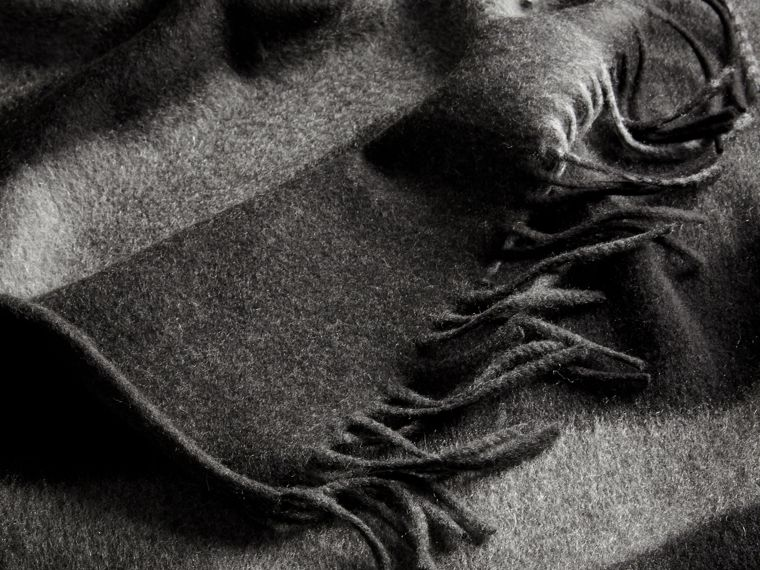 Charcoal Check Cashmere and Wool Poncho Charcoal - cell image 4