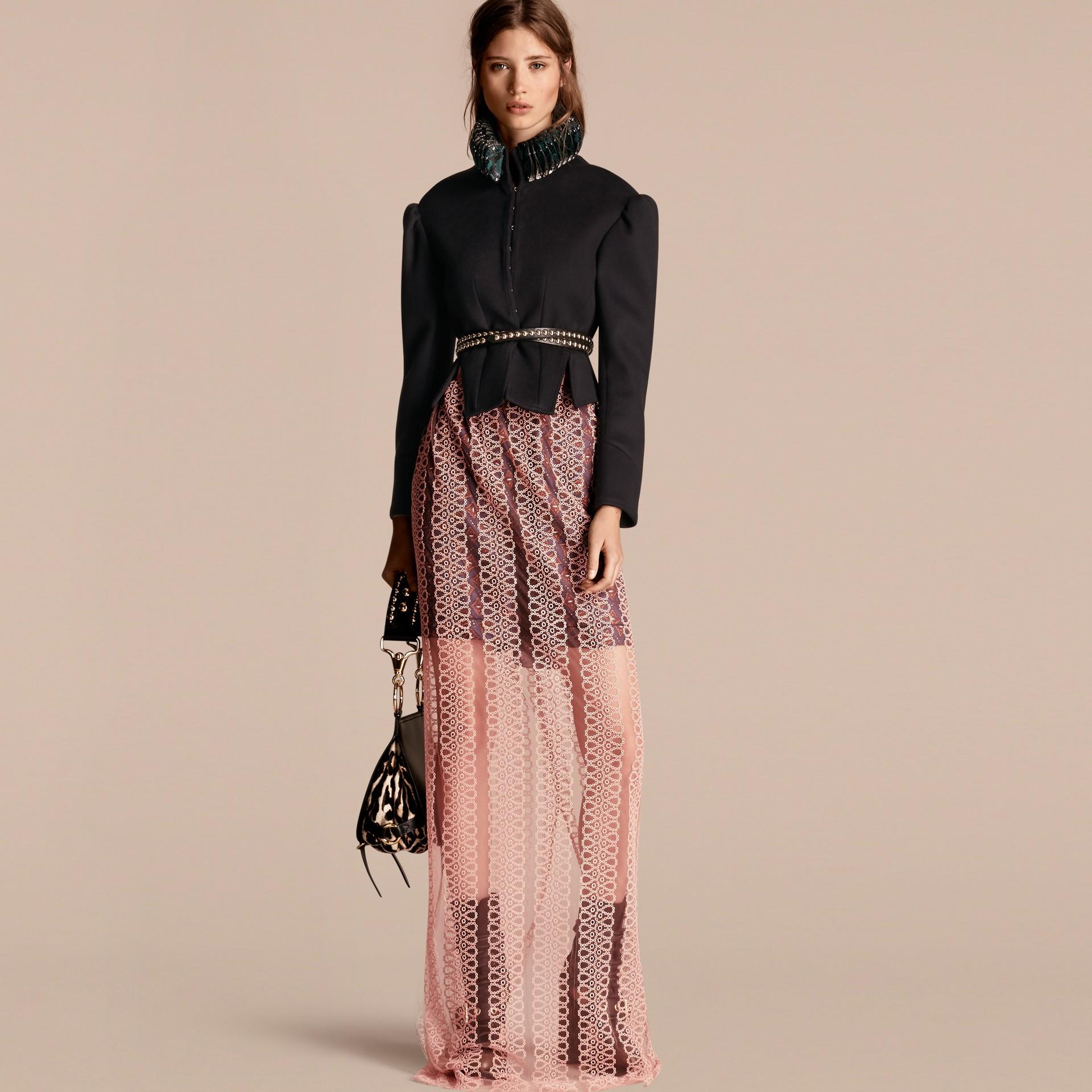 Rosa claro Saia estilo coluna de tule com faixas de bordado - galeria de imagens 6