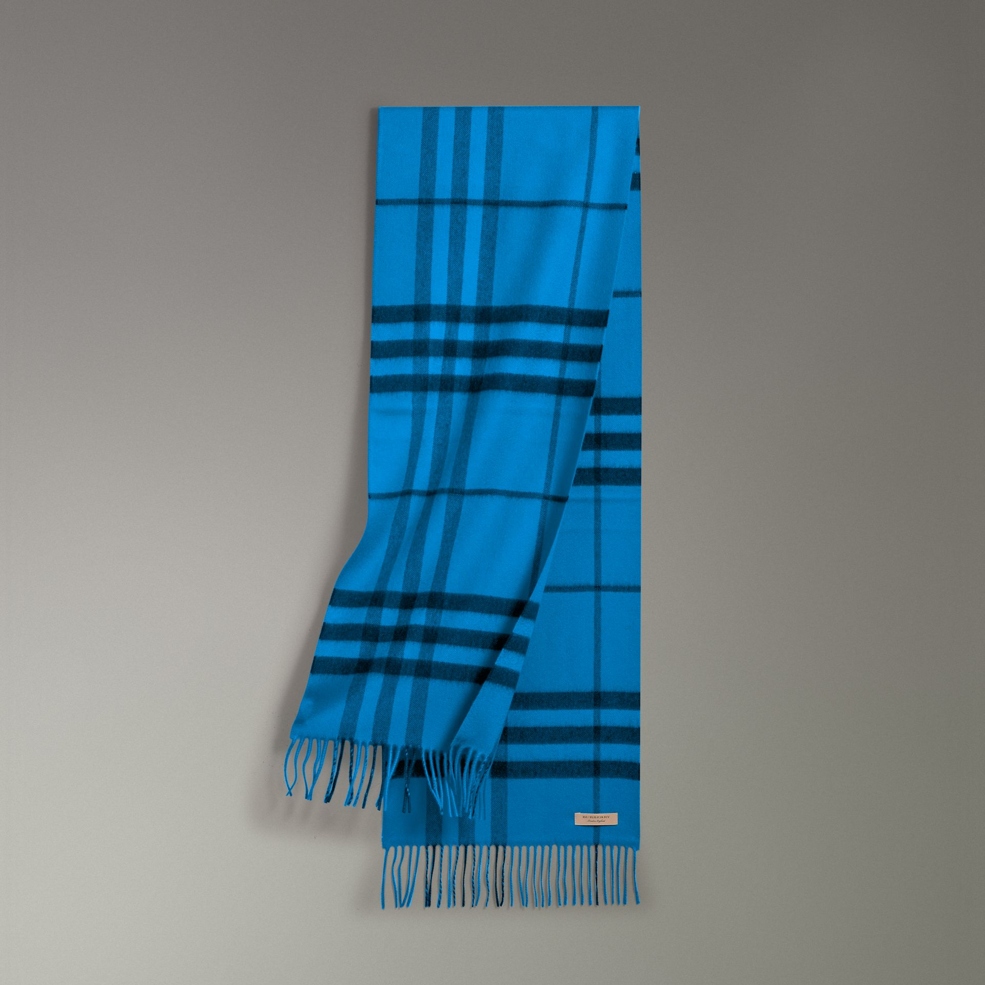 Overdyed Exploded Check Cashmere Scarf in Bright Blue | Burberry - gallery image 0