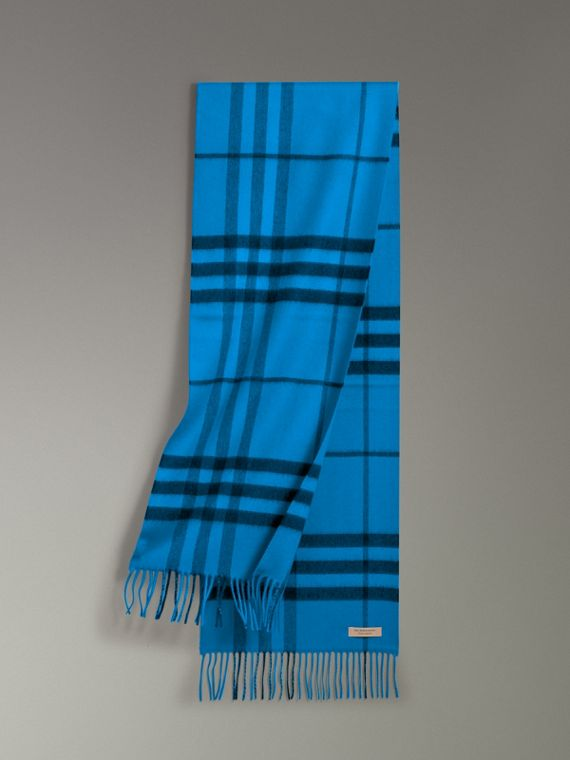 Overdyed Exploded Check Cashmere Scarf in Bright Blue