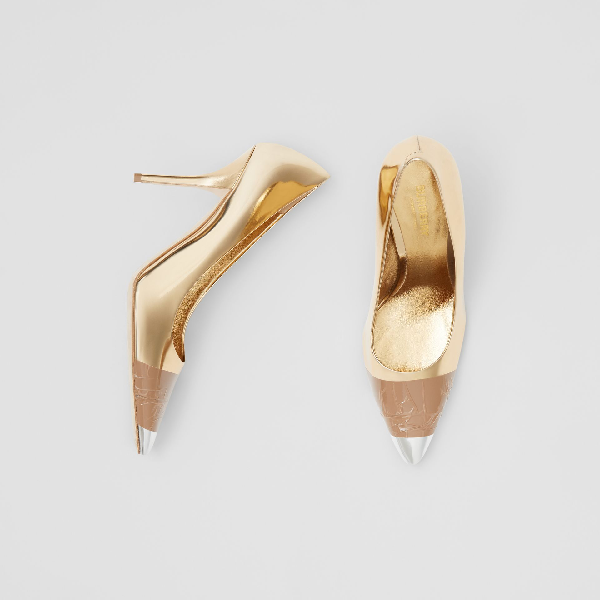 Tape Detail Mirrored Leather Pumps in Gold/silver - Women | Burberry Australia - gallery image 0