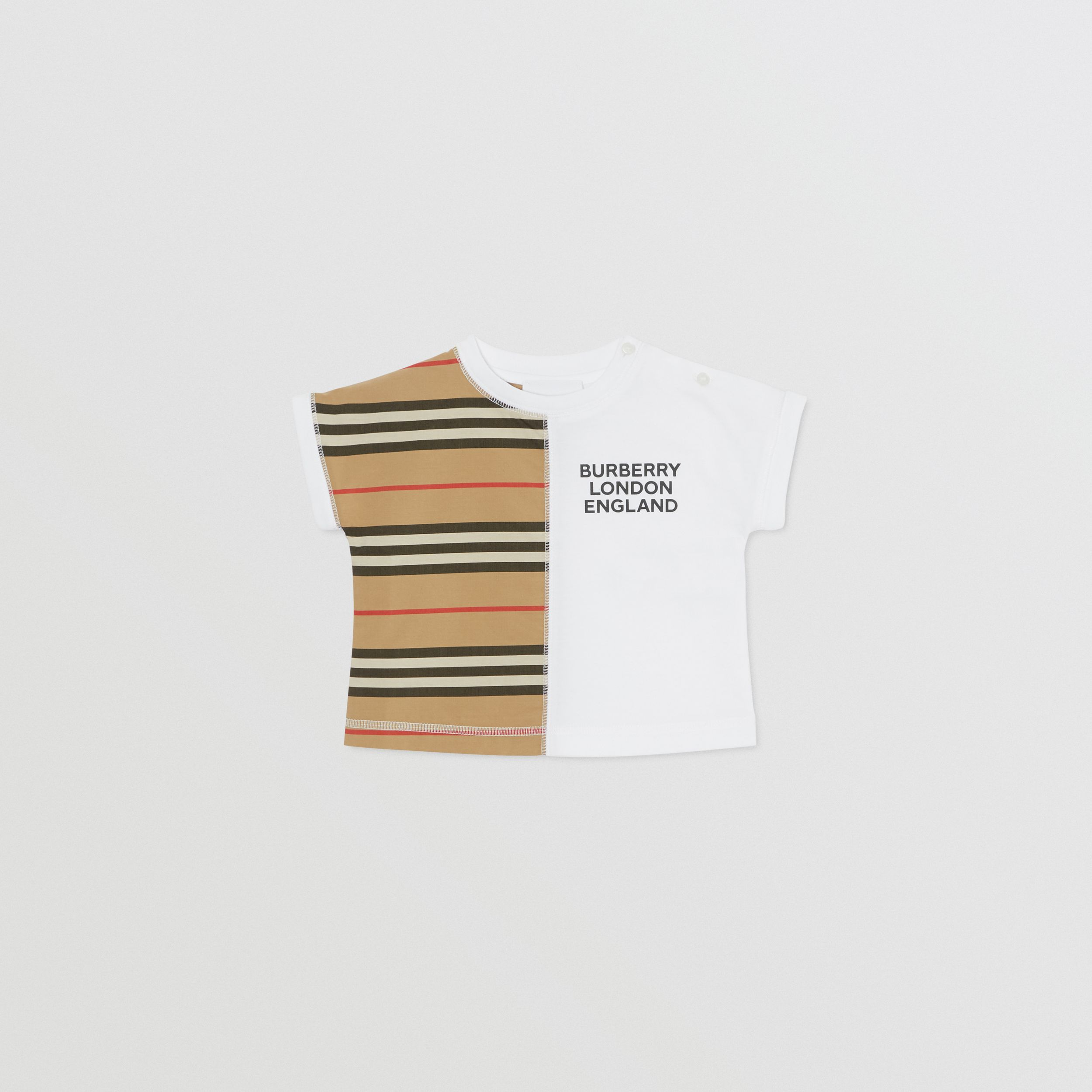Icon Stripe Panel Cotton T-shirt in White - Children | Burberry - 1