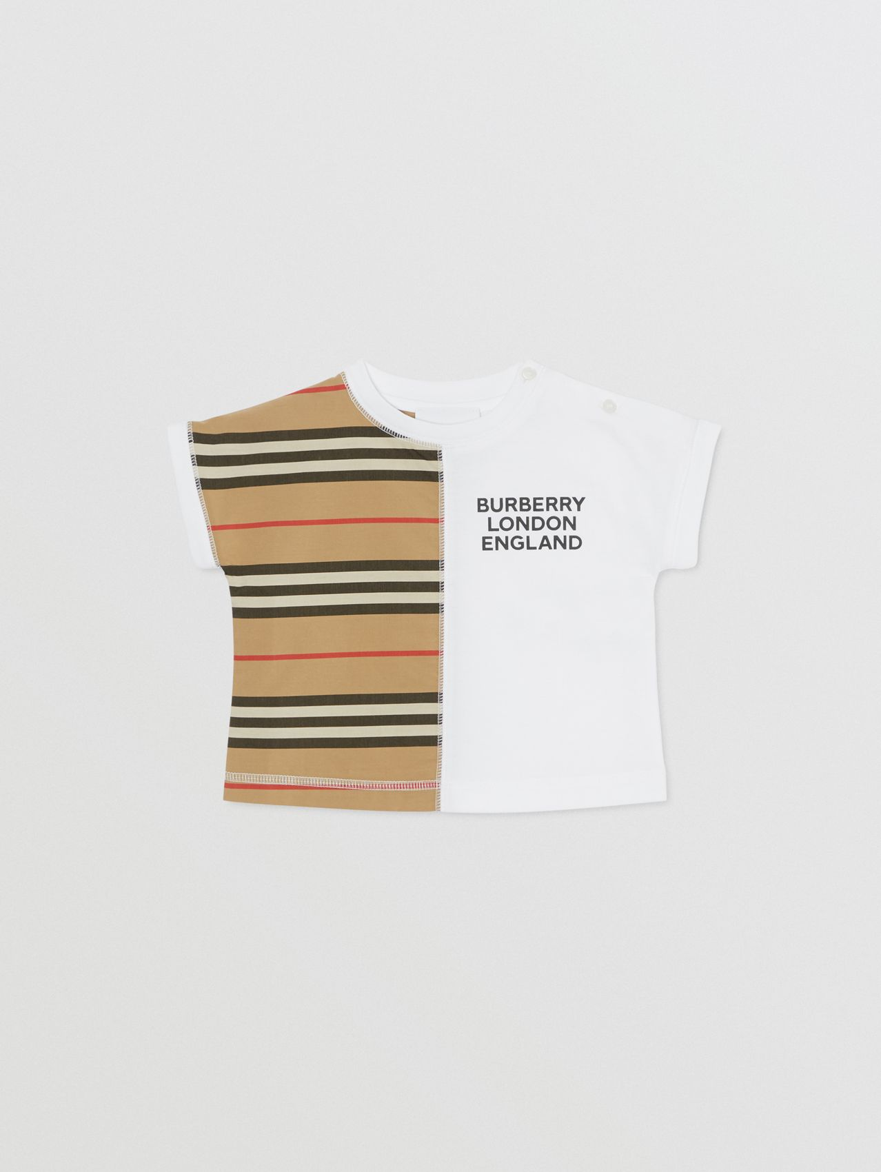 Icon Stripe Panel Cotton T-shirt in White