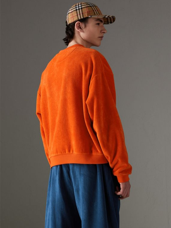Archive Logo Towelling Sweatshirt in Tangerine | Burberry - cell image 2