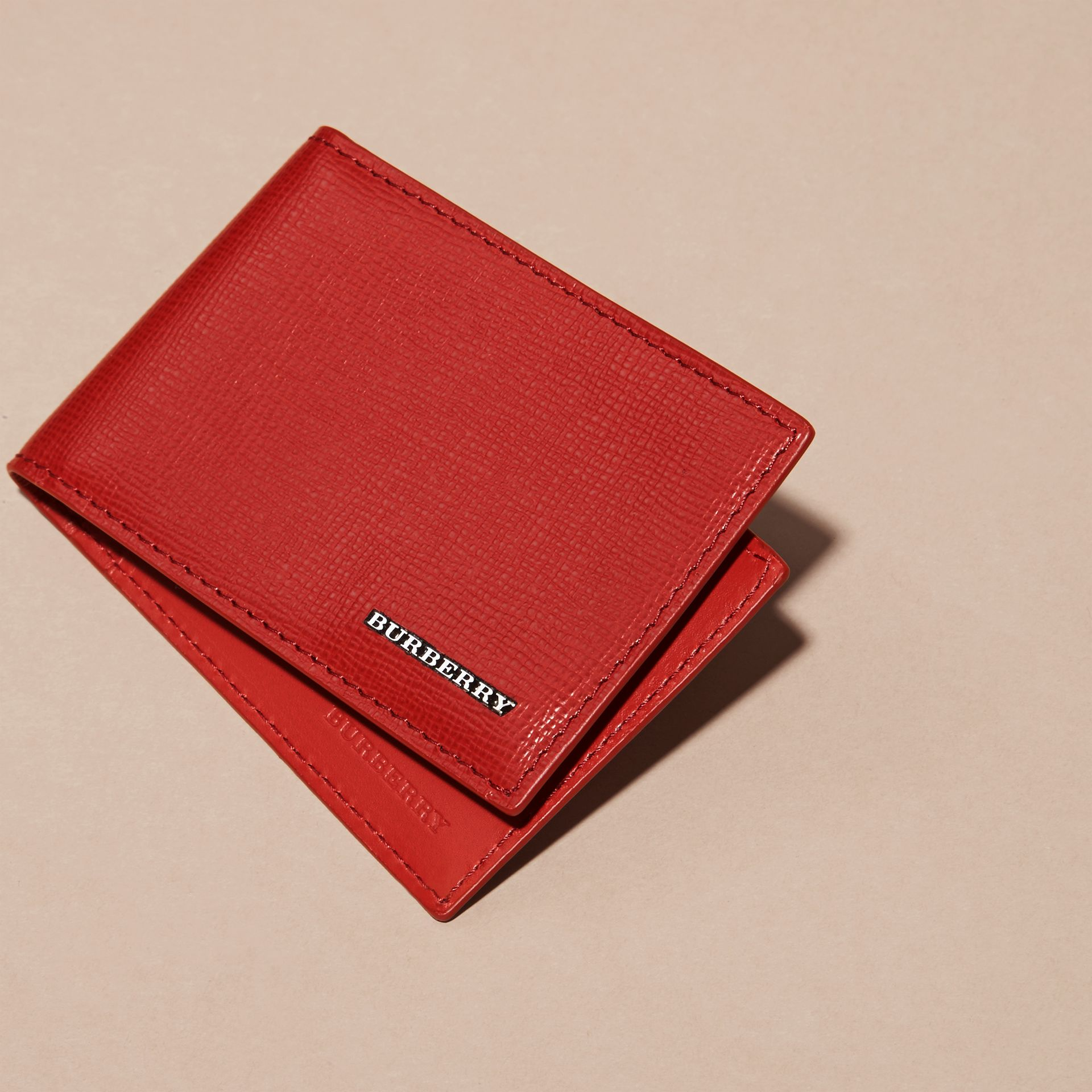 Dark military red London Leather ID Wallet - gallery image 3