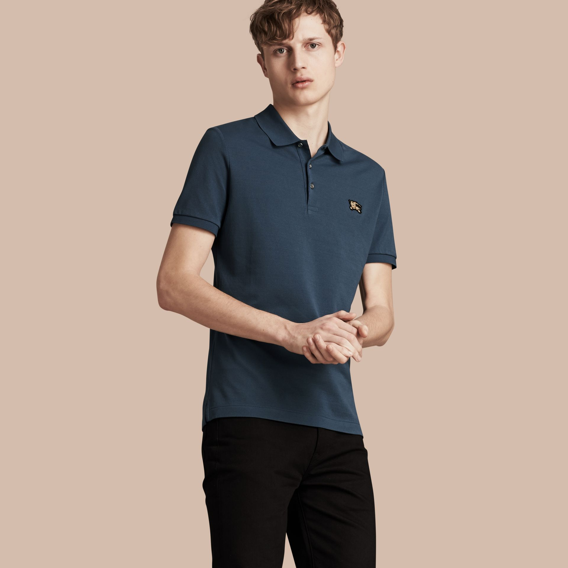 Fitted Mercerised Cotton-Piqué Polo Shirt Bright Steel Blue - gallery image 1