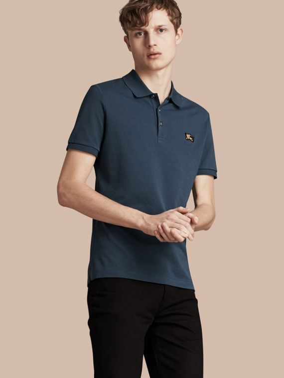 Fitted Mercerised Cotton-Piqué Polo Shirt Bright Steel Blue