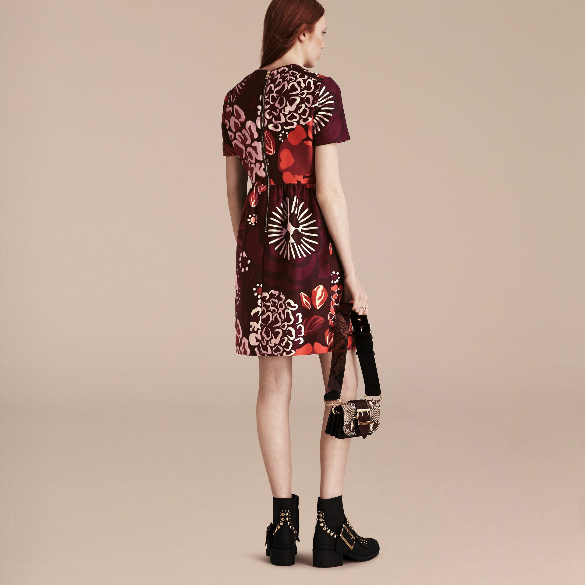 Deep burgundy Floral Print Cotton Wool Blend A-line Dress - gallery image 3
