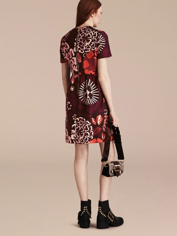 Deep burgundy Floral Print Cotton Wool Blend A-line Dress - cell image 2